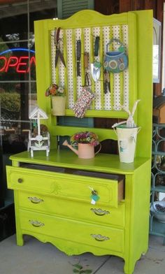 Vintage Dresser Turned Potting Shed .... or maybe it could be used as craft/office supplies storage, rather than pegboard use corkboard covered in burlap ...love the possibilities this idea offers! #pottingshed