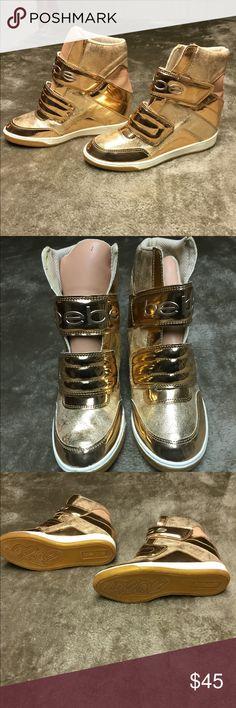 Golden Glitter Hidden Wedge Athletic Sneaker My Posh Closet f4904bd69