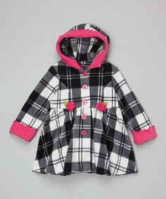 Another great find on #zulily! Hot Pink Plaid Hooded Coat - Infant, Toddler & Girls #zulilyfinds