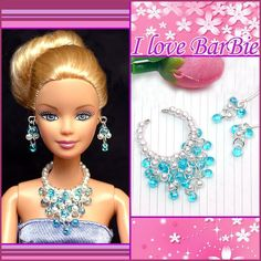 barbie dolls jewelry set barbie necklace and earring by sinogem, $3.99