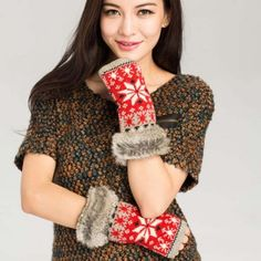 Snowflake Knit Gloves - Red