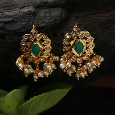 Buy Handcrafted Earrings, Necklaces, Pendants, Anklets, Bangles & Bracelets Online Price from Aadyaa. Shop from a wide collection of designer jewellery. Indian Jewelry Earrings, Gold Jhumka Earrings, Ear Jewelry, Gold Jewellery, Jewelery, Gold Ring Designs, Gold Earrings Designs, Necklace Designs, Gold Jewelry Simple