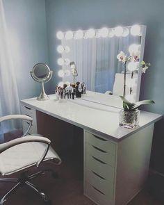 Vanity For My Room Idea: Impressions Vanity Glow XL, IKEA Linnmon Table Top  U0026 IKEA Alex Drawers.