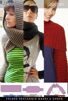 Another easy shrug or shrowl to make from a long rectangle making sleeves by folding and sewing the edges | free patterns for knit and crochet version | DiaryofaCreativeFanatic