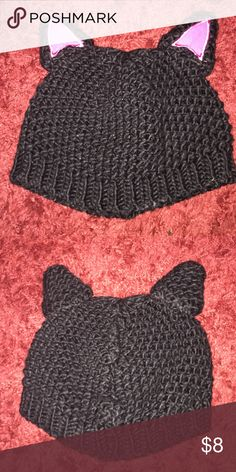 Adorable cat eared beanie Wore this one time for Halloween 👻 super cute and warm. Definitely adult size beanie, and has been washed once in the washer. Accessories Hats