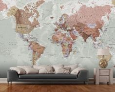 Contemporary grey world map wallpaper mural wallpaper murals executive political world map wallpaper mural wall murals wallpaper gumiabroncs Choice Image