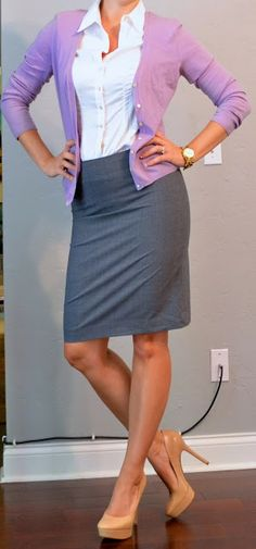 Outfit Posts: outfit post: grey pencil skirt, purple cardigan, white buttondown shirt or use gray pants.