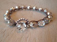 "Silver beaded crochet bracelet - slashKnots Stackers ""Metallic Silver Crystal"" czech glass bohemian jewelry, clear, Shabby chic, boho. $26.00, via Etsy."