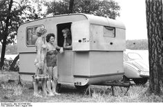 Camper with a split door, vintage photo.
