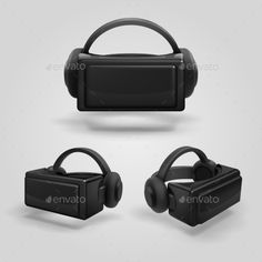 Headset and Stereoscopic Virtual Reality Goggles - Objects Vectors