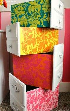 Cute Colorful Girls Room or Dorm Decor Ideas - Painted Dresser Drawers with…