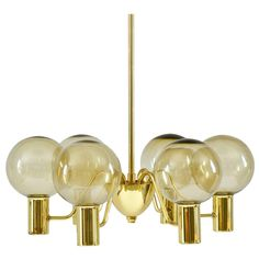 Chandelier in Brass and Glass by Hans-Agne Jakobsson