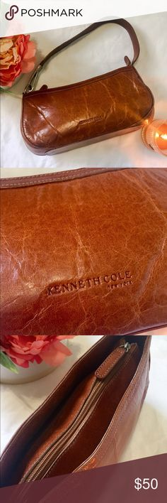 Kenneth Cole Brown Leather Purse Beautiful brown leather. Shoes some signs of pre-Love, but that just makes leather look better. Great condition. Some signs of wear inside, see photos, but nothing crazy. Kenneth Cole Bags Shoulder Bags