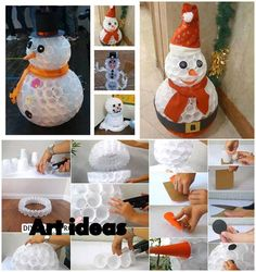 DIY Snowman out of Plastic Cups: Video DIY Snowman Craft Ideas For Your Christmas From Plastic Cup - Elva PhotographyDIY Plastic Cup Snowman Lights for Outdoor Christmas Decor Tutorial: add Christmas lighting indoor or outdoor by adding LE Decorating With Christmas Lights, Christmas Crafts For Kids, Xmas Decorations, Christmas Projects, Christmas Fun, Holiday Fun, Holiday Crafts, Christmas Ornaments, Decoration Crafts