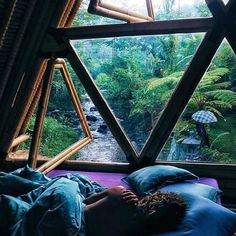 """Those windows! Peaceful jungle hideaway ft willows sleepy locks This sacred space is called hideout bali - you can find it on airBnB ️xxx"""" Earthship, My Dream Home, Dream Life, Future House, Interior And Exterior, Room Interior, Luxury Interior, Architecture Design, Sustainable Architecture"""