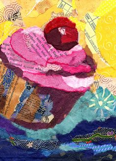 Bits of Gelli painted papers incorporated into Wanda's lovely collage.art & more! Mixed Media Collage, Collage Art, Paper Collages, Love Collage, Mix Media, Gelli Arts, Cupcake Art, Plate Art, Painted Paper