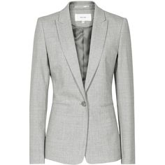 Reiss Aleggra Single Breasted Blazer, Mid Grey ($335) ❤ liked on Polyvore featuring women's fashion, outerwear, jackets, blazers, wool jacket, gray blazer, grey wool jacket, gray jacket and gray wool jacket