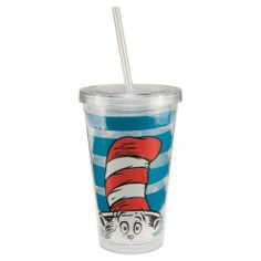 Vandor LLC 17351 Doctor Seuss A Cat in the Hat Acrylic Travel Cup with Lid and Straw, 18-Ounce, Multicolored by Vandor, LLC. $12.00. Product is BPA free. Matching twisting lid and coordinating straw. Hand wash for best results. Great for hydrating on the go. Double wall acrylic travel cup. Its true, From there to here, from here to there, funny things are everywhere. Thanks to the fantastical, whimsical, nonsensical stories of Dr. Seuss, generations of children have learn...