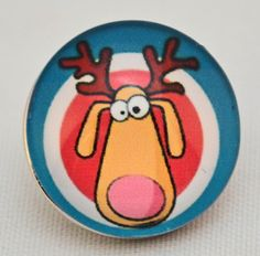 A goofy reindeer, whimsical and cute. (alloy metal and plastic)