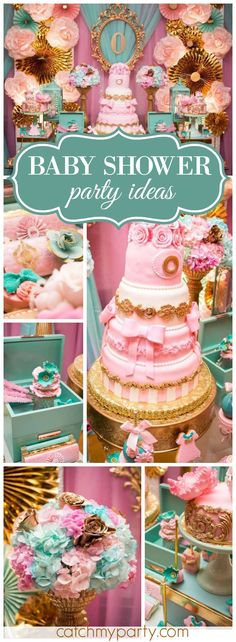 What a gorgeously elaborate pink and blue baby shower! See more party ideas at CatchMyParty.com!