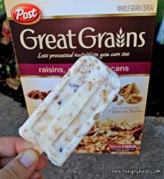 Whole Grain & Honey Yogurt Bars  Ingredients  32 oz plain yogurt  1/4 cup honey  2 cups Post Great Grains cereal  Directions  1. Combine all ingredients  2. Evenly distribute yogurt mixture to popsicle forms  3. Freeze for one hour, insert popsicle sticks  4. Freeze for 4 additional hours  5. Enjoy!