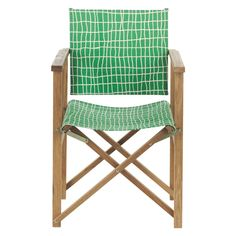 AFRICA Oak director's chair with green check sling   Buy now at Habitat UK