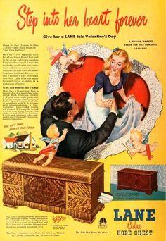 ValentinesDay. Lane Cedar hope chest advertisement 1947