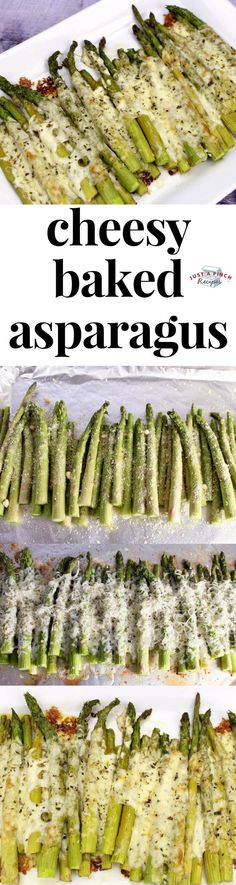 Easy cheesy baked asparagus recipe! #asparagus #sidedish #vegetarian #vegetables #vegetarianrecipes #dinnerrecipes #dinner #dinnertime