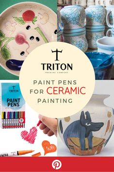 Triton Paint Pens are non-toxic, no odor, no leaking or pooling - Conforms to ASTM D- Best for your ceramic or clay painting. Pebble Painting, Ceramic Painting, Ceramic Artists, Painting On Wood, Rock Painting, Water Based Acrylic Paint, Acrylic Paint Pens, Posca, Modern Artists
