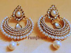 smart kundan and pearls polki danglers pearl-Jewellery-Runjhun Designer Jewellery and Tanjore Craft