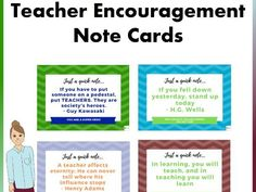 Boost teacher and staff morale with these encouragement cards. These cards include inspirational quotes to motivate teachers and inspire them to continue t. School Resources, Teaching Resources, Powerpoint Format, Motivational Quotes, Inspirational Quotes, Mindfulness Activities, Make Up Your Mind, New School Year, New Teachers