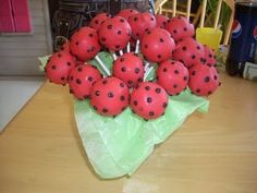 Lady bug cake pops, try displaying in a box or bucket covered in faux grass