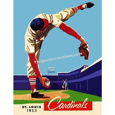 St. Louis Cardinals 1953 Dizzy Dean Tribute Poster ($10) ❤ liked on Polyvore featuring home, home decor, wall art, retro wall art, retro posters, baseball wall art, framing posters and retro home decor