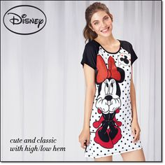 Dreaming of Mickey Disney Sleepshirt* Sweet dreams guaranteed! Polka-dot sleepshirt with an illustration of Minnie Mouse. Cotton/polyester. Machine wash and dry. Imported. Brochure: $19.99