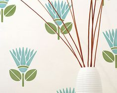 African Flower Furniture and Wall Stencil for DIY Decor