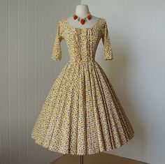 vintage 1950's dress ...cute as a bug and peaches by lolitabee, $150.00