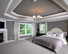 SW7018 Dovetail Design, on the tray ceiling and accent wall in master bedroom