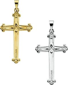 Amazon.com: 14K Yellow or White Gold Cross Pendant 25mm x 16mm (Yellow or White Gold): Jewelry