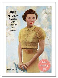 Midriff Slip-On Sweater Top Blouse Vintage Knit Knitting Pattern