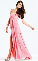 Coral dress with drape and splits for black tie events...