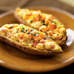Twice-Baked Sweet Potatoes With Bacon and Sour Cream: Dark orange vegetables—like one of our favorite superfoods, the sweet potato—are especially nutritious. Get a boost of beta-carotene with this shortcut to classic twice-baked potatoes. Cut out much of the fat in traditional recipes by substituting reduced-fat sour cream and cheese for milk and butter.  Health.com