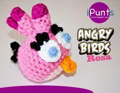 Amigurumi Angry Birds Rosa  - Patron Gratis en Español (Aconsejo grabar el patrón para  poder ampliarlo y ver mejor las instrucciones) aquí: http://ipunts.blogspot.com.es/2014/11/angry-birds-rosa-crochet-amigurumi.html