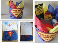 SUPER-DAD SURVIVAL KIT: Super man boxer, Superman tshirt, white tshirt decorated by the girls, favorite candy and toys coming with cute saying!