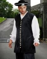 Price $95.00.  Mens Pirate Ship Captain De Lisle Medieval Renaissance Black Velvet Vest.   A ship captain is a man of distinction, and this Captain de Lisle costume vest is the very definition of the word. A fully decorated vest made from soft Cotton Velvet, best suited for any professional pirateer, special occasion or event.  This black-colored pirate costume vest is made from soft quality Cotton Velvet fabric with fully functional buttons.