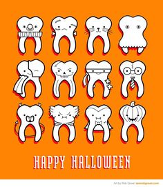 Only 24 more days until Halloween, Linus, and the Great Pumpkin! Are you going to decorate your dental office for Halloween? Dentaltown - Halloween costume contest - any ideas? Dental World, Dental Life, Dental Health, Oral Health, Halloween Teeth, Happy Halloween, Healthy Halloween, Halloween 2015, Dental Hygiene School