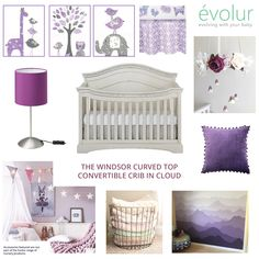 """The color experts at Pantone declared """"Ultra Violet"""" as the color of 2018. We created this gorgeous nursery in shades of cream with just a touch of violet. Featured here is the Windsor (Curved top)/Adora 5-in-1 Convertible Crib in Cloud.  #Evolur #EvolurBaby #Babycare #EveryBabyDeservesAnEvolur #Nursery #Baby #NurseryFurniture #Furniture #AffordableLuxury #Mom #Dad #Babies #Crib #Windsor #ConvertibleCrib #Crib #Moodboard #BabyNursery"""