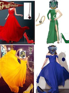 Harry Potter fashion Yule Ball Hufflepuff  Slytherin Gryffindor Ravenclaw dresses gowns dance dances House clothing fandom outfits