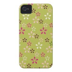 Pretty Flower Pattern Pink and Green Gifts Case-Mate iPhone 4 Cases  #SOLD on #Zazzle