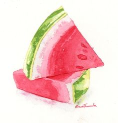 Pinturas de Brenna Thummler - New Site Watercolor Fruit, Watercolor Drawing, Watercolor Cards, Painting & Drawing, Watermelon Art, Watermelon Carving, Fruit Painting, Fruit Art, Art Graphique