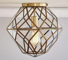 $395 - Master Bedroom Closet | Glass & Metal Flushmount Lighting | PBK